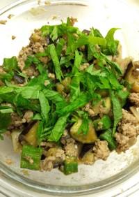 茄子とオクラと豚挽肉の味噌しょうゆ炒め