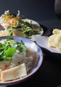 たけのこづくし!炊き込み、サラダ、天ぷら