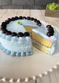 幸せのリナブルーケーキ米粉のジェノワーズ