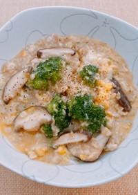☆オートミール鶏胸肉ブロッコリー卵雑炊☆