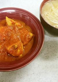 ✨鶏肉とネギのトマト煮込み&味噌汁✨