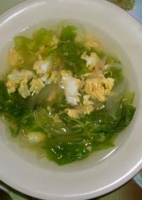 新玉ねぎとレタス+かきたまスープ