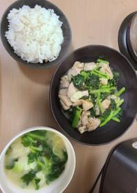 【今日の夕飯】菜花と鶏肉と大蒜の炒めもの
