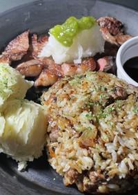 ステーキ、マッシュポテト、BBQ