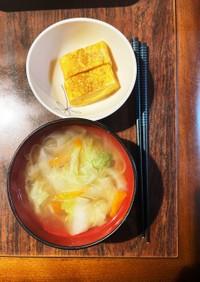 白菜と根菜麹味噌汁