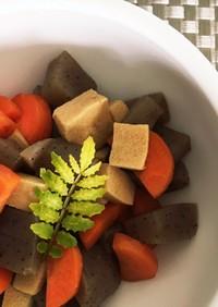 蒟蒻&高野豆腐+根菜類の簡単煮物