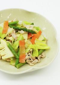 豚と春野菜の塩だれ炒め(減塩)