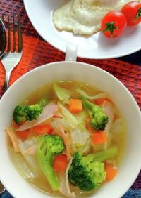 春キャベツたっぷり♬野菜とハムのスープ♪