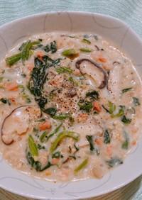 オートミール鮭とほうれん草の豆乳リゾット