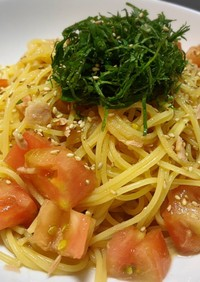超簡単☆トマトとツナ大葉の冷製パスタ