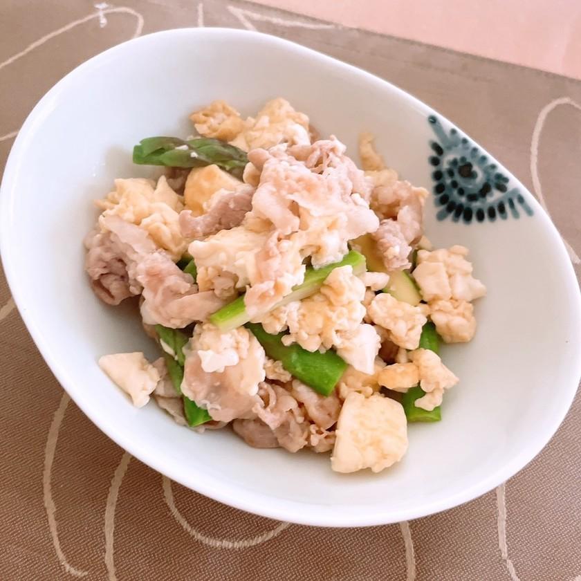 豚バラとアスパラの和風豆腐チャンプルー