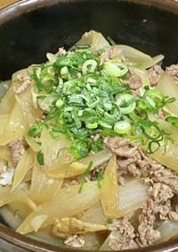 麺つゆで新玉ねぎの牛丼・生姜風味