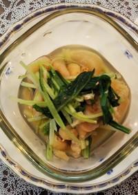 水菜とお麩と油揚げの煮びたし