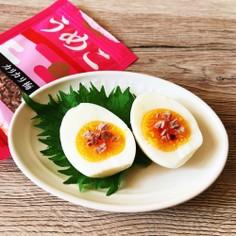 ♡ゆで卵にうめこトッピング♡