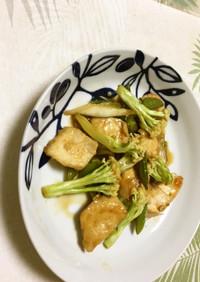 カリフローレとスナップエンドウ鶏肉の炒め