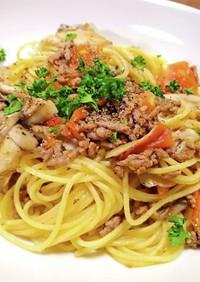 トマトと挽き肉と舞茸のスパゲッティ