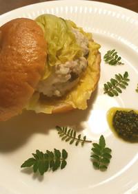 ベーグルの発酵筍肉まん風木の芽マスタード