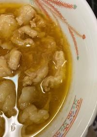 袋麺の味噌ラーメンスープでもつ煮込み