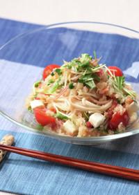 卯月製麺:水菜とチーズの梅おろしそうめん