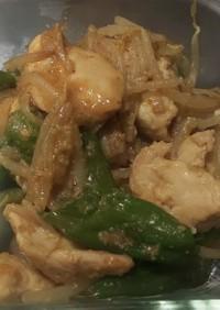 ししとうと鶏むねのゴマ味噌炒め