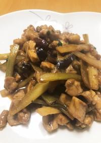 春味:ご飯がすすむ うどと鶏肉の味噌炒め