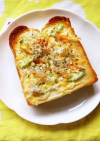 桜えび香る!しらすと葱のチーズトースト♪