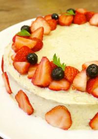 砂糖なし☆いちごのデコレーションケーキ