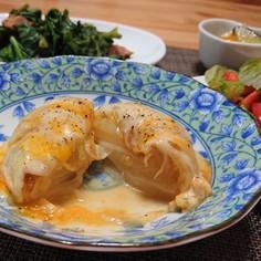 新玉ねぎのチーズ味噌まるごとレンジ蒸し