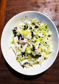白菜とグリルチキンの塩揉み海苔サラダ