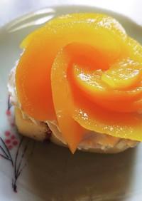桃のバラケーキ