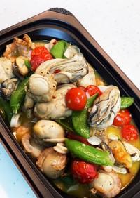 牡蠣と旬野菜の時短アヒージョ風炒め