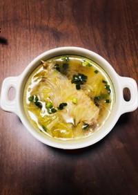 手羽先とキャベツの春雨スープ