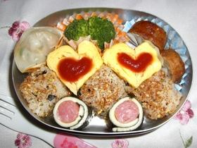 ♡ハート&キューブ♡卵焼きdeキャラ弁
