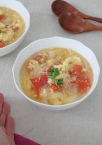 すぐできる!トマトと玉ねぎ卵の中華スープ