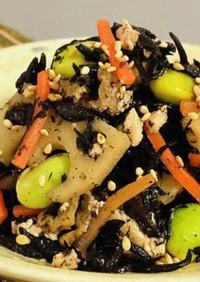 再現レシピ☆6種具材の豆腐とひじきの煮物
