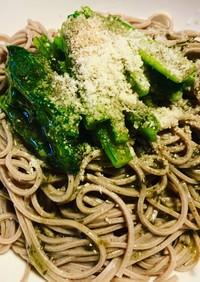 小松菜と胡麻のバジルソース蕎麦