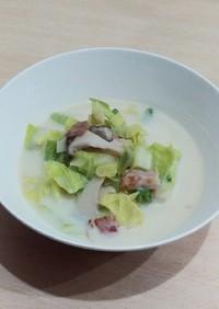 キャベツとエリンギの豆乳スープ