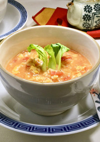 オートミールの簡単中華風トマトスープ♪