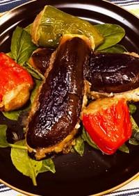 茄子ハサミ揚げとピーマン肉詰め揚げ
