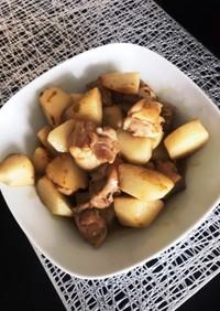 鶏肉と山芋のわさび麺つゆ炒め