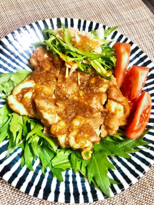 皮パリパリ鶏モモねぎ生姜焼き