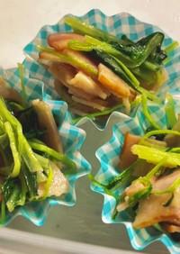 【お弁当】水菜とベーコンのコンソメ炒め