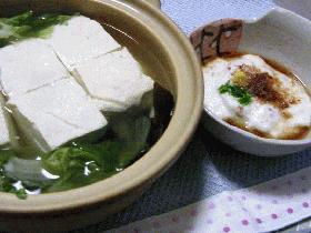 レタス入り湯豆腐、とろろダレ