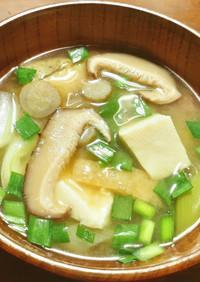 干し椎茸、牛蒡、ニラ、豆腐のお味噌汁