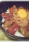 マグロ・真鯛・イカの海鮮漬け丼