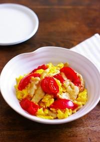 鶏胸肉とトマトの中華風卵炒め