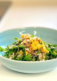 新芯菜(なばな)と炒り卵のお浸し