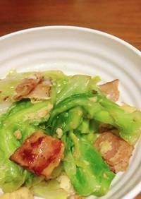 キャベツ・ベーコン・卵のめんつゆマヨ炒め