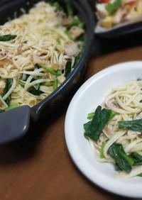 小松菜と豚の和風パスタ