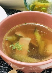 ナスとベーコンのスープ・コンソメスープ